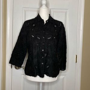 Bogner Women's Blouse Top Black Embroidered Lace